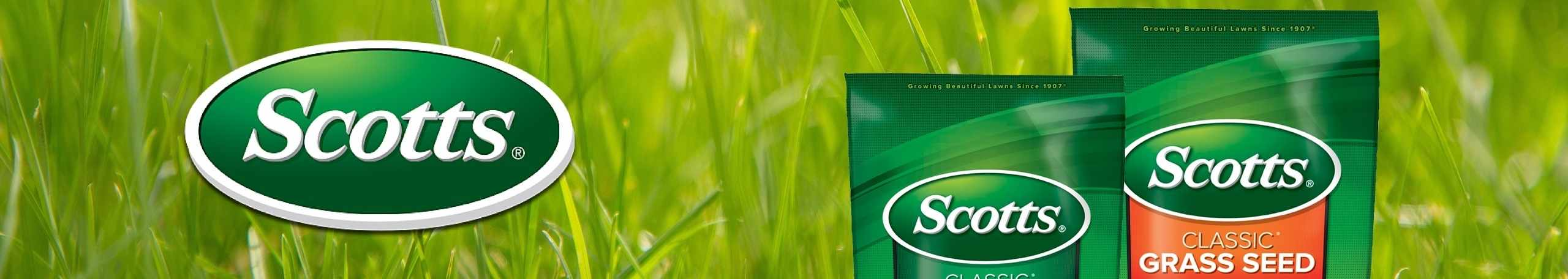 Scotts Lawn Care products on green grass background