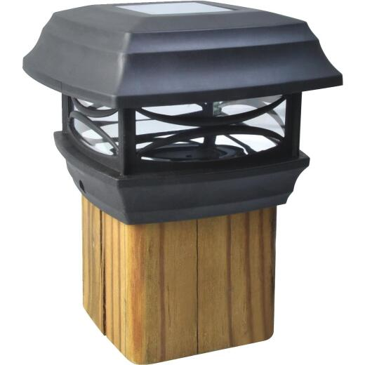 Moonrays 4 In. x 4 In. Black LED Solar Post Cap