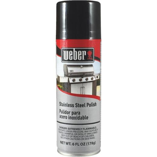 Weber 6 Oz. Aerosol Spray Stainless Steel Polish Barbeque Grill Cleaner