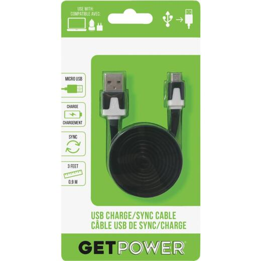 GetPower 3 Ft. Black USB to Micro USB Flat Charge/Sync Cable