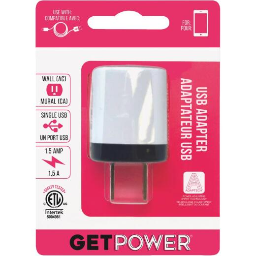 GetPower Single USB to AC White Wall Adapter Charger